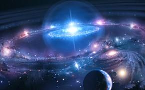 Картинка Галактика, Звезды, Планета, Космос, Туманность, Звезда, Планеты, Planets, Star, Арт, Stars, Space, Art, Planet, Universe, …