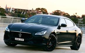 Картинка Maserati, Quattroporte, вечер, 2018, GTS, AU-spec, GranSport, Nerissimo Edition