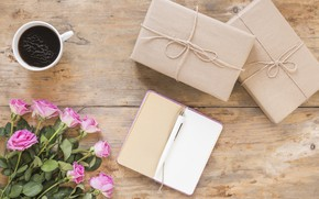 Картинка розы, букет, подарки, блокнот, flowers
