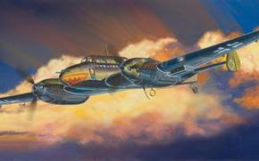 Картинка Messerschmitt, Истребитель-бомбардировщик, ночной истребитель, Люфтваффе, двухмоторный тяжелый истребитель, Bf 110 E-серия