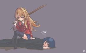 Картинка меч, аниме, арт, Toradora!, Тайга, Рюджи