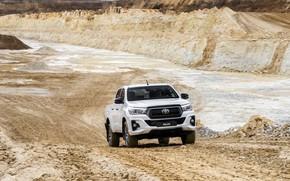 Картинка дорога, белый, Toyota, пикап, Hilux, Special Edition, карьер, 2019