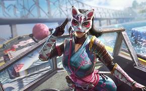 Картинка девушка, мост, маска, Playerunknown's Battlegrounds