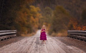 Картинка дорога, мост, девочка