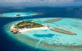Картинка острова, пальмы, океан, Мальдивы, курорт, лагуна, пляжи, бунгала