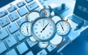 Картинка время, управление, клавиатура, ноутбук, быстротечно, секундомеры