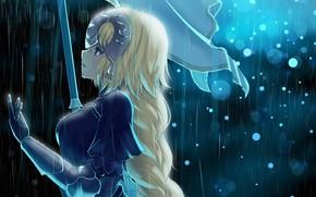 Картинка девушка, дождь, аниме, арт, Fate Grand order