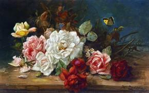 Картинка цветы, масло, розы, Hans Zatzka, «Still life with roses»