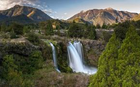 Картинка лес, деревья, горы, ручей, камни, скалы, водопад, Чили, Conguillío