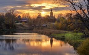 Картинка осень, солнце, пейзаж, природа, город, церковь, Суздаль, речушка, Григорий Бельцев