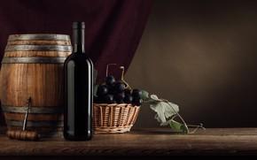 Картинка вино, бутылка, виноград, штопор, бочонок