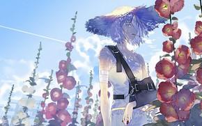 Картинка лето, девушка, цветы, шляпа, бандаж, мальва