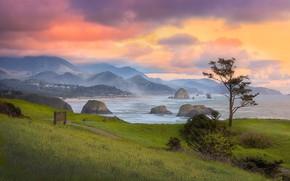 Картинка море, пляж, небо, трава, облака, горы, природа, зеленый, туман, скалы, холмы, берег, весна, утро, луг, …