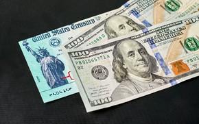 Картинка США, Купюры, Деньги, Бенджамин Франклин, Benjamin Franklin, Доллары, Темный фон, Dollars, 100, 2021, Сто, Чек …