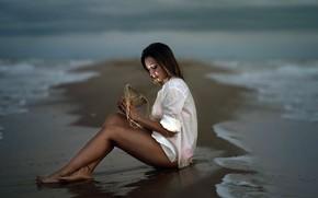 Картинка море, девушка, берег, Mireia Lilu