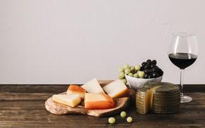 Картинка стол, вино, бокал, сыр, виноград, красное вино