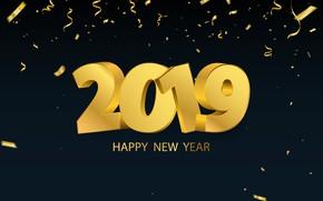 Обои золото, Новый Год, цифры, golden, черный фон, black, background, New Year, Happy, sparkle, 2019