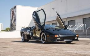 Картинка Black, Supercar, Italian Cars, Scissor doors, 1998 Lamborghini Diablo SV