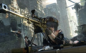 Картинка пистолет, пулемет, снайпер, патроны, перестрелка, военная форма, барикады, разрушенный город, раны, снайперкая винтовка, вертолет поддержки, …