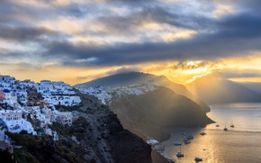 Картинка Sunrise, Santorini, Greece, Cyclades