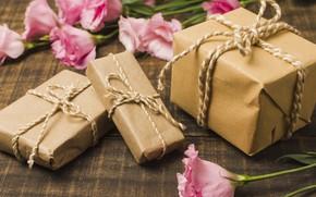 Картинка цветы, розовый, подарок, pink, flowers, эустома, gift box, eustoma