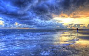Картинка море, небо, закат, берег