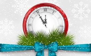 Картинка снежинки, стрелки, графика, часы, Рождество, Новый год, бант