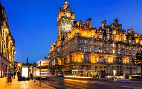 Картинка дорога, свет, ночь, ночные огни, Шотландия, архитектура, ночной город, Scotland, Эдинбург, Edinburgh, Princes Street