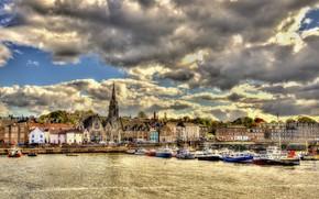 Картинка город, пристань, набережная, Scotland, Эдинбург, Edinburgh, Newhaven Harbour