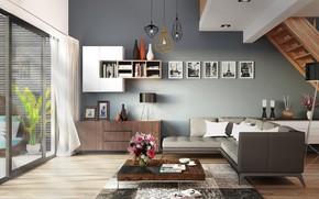 Картинка дизайн, стиль, интерьер, лестница, гостиная