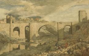 Картинка пейзаж, масло, картина, 1903, Marius Alexander Jacques Bauer, Мариус Бауэр, Мост в Толедо