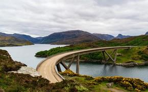 Картинка дорога, небо, облака, горы, мост, природа, река, холмы, Шотландия, Kylesku Bridge