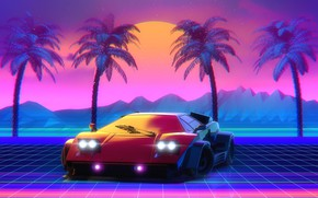 Картинка Lamborghini, 80s, Neon, Countach, Lamborghini Countach, 80's, Synth, Retrowave, Synthwave, New Retro Wave, Videogame, Futuresynth, …