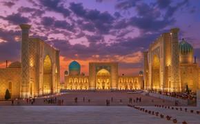 Картинка площадь, мечеть, купол, Узбекистан, Самарканд