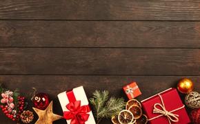 Картинка зима, праздник, доски, Рождество, Новый год, коробки, новогодние украшения, новогодние декорации