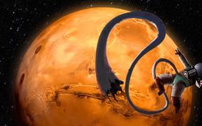 Картинка Музыка, Звезды, Планета, Космос, Трубка, Астронавт, Космонавт, Марс, Арт, DOS, Шланг, madeinkipish, DOS 88, DOS-88, …