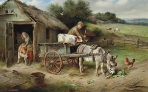 Картинка британский художник, 1900, British painter, oil on canvas, Walter Hunt, Уолтер Хант, На рынок, Off …