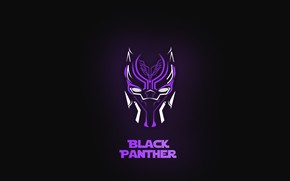 Картинка минимализм, marvel, чёрная пантера, black panther