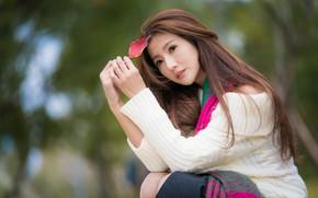 Картинка девушка, милая, волосы, листик, азиатка, боке