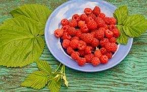Картинка листья, малина, ягода, тарелка
