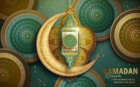Картинка круги, узоры, месяц, фонарик, религия, Рамадан