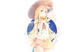 Картинка девушка, фон, соломенная шляпа, лемонная долька