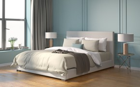 Обои дизайн, кровать, интерьер, design, спальня, модерн, bedroom