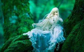 Картинка дерево, мох, кукла, платье, флейта