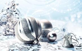 Картинка праздник, серебро, шар, Новый год, колокольчик, Anya Ivanova