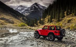 Картинка вода, деревья, красный, камни, 2018, Jeep, Wrangler Rubicon