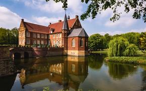 Картинка вода, деревья, мост, отражение, замок, Германия, Germany, ров, Havixbeck, Замок Хюльсхофф, Хавиксбекк, Hülshoff Castle