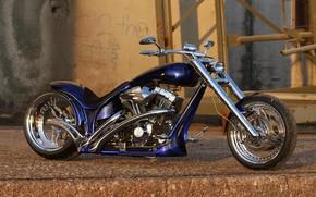 Картинка Harley Davidson, Bike, Harley-Davidson, Custom, Thunderbike, By Thunderbike, Blue Flames