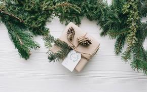 Картинка украшения, подарок, Новый Год, Рождество, Christmas, wood, New Year, gift, decoration, Merry, fir tree, ветки …