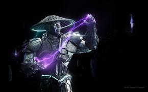 Картинка fantasy, game, magic, fighter, hat, lightning, Mortal Kombat, digital art, artwork, black background, warrior, fantasy …